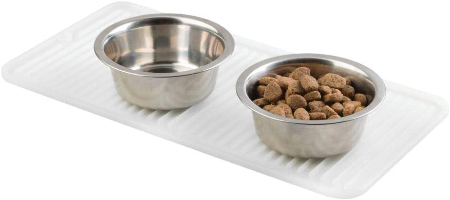 mDesign Premium Quality Pet Food and Water Bowl Feeding Mat for Dogs and Puppies - Waterproof Non-Slip Durable Silicone Placemat - Raised Edges, Food Safe, Non-Toxic - Small - White