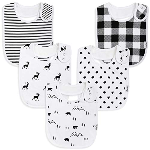 Premium, Organic Cotton Toddler Bibs, Unisex 5-Pack Extra Large Baby Bibs for Boys and Girls by KiddyStar, Baby Shower Gift for Feeding, Drooling, Teething, Adjustable 5 Positions (Bears & Reindeer) ()
