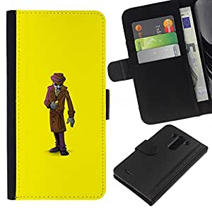 LG G3 / D855 / D850 / D851 Modelo colorido cuero carpeta tirón caso cubierta piel Holster Funda protección - Mystery Man Suit Cartoon