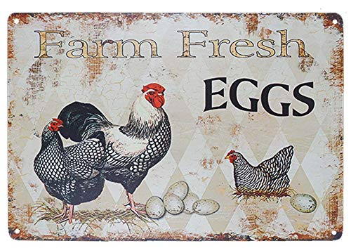 TISOSO Funny Chicken Hen House Sign Farm Fresh Eggs Country Signs Wall Decor Retro Vintage Tin Bar Sign Metal Animals Yard Decor Gift Size 8