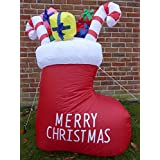 Inflatable Christmas Stocking With Presents Decoration 120cm 4ft Tall With 4 LED Lights Indoor Outdoor Use by UK-Gardens