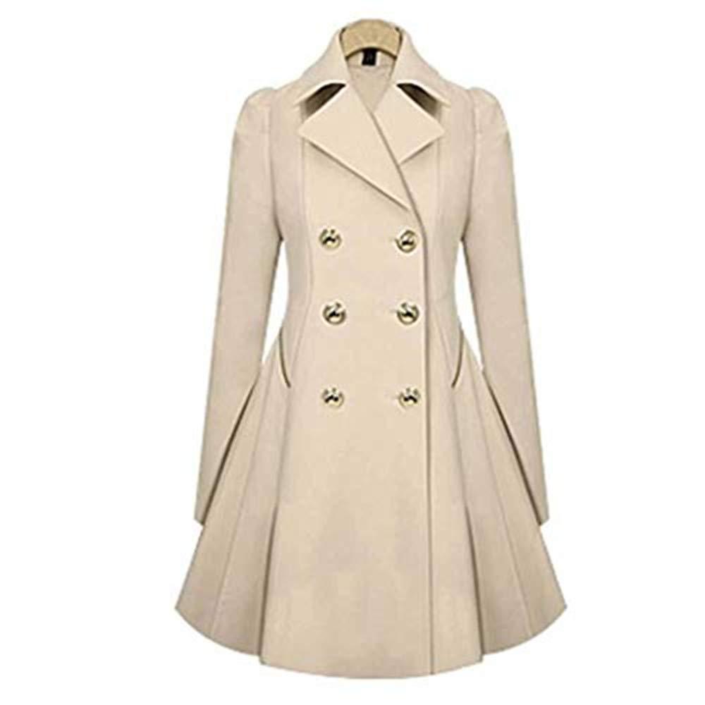 Khaki Gijoki Women Casual Windbreakers TurnDown Collar Coat ALine Pleated Hem Windbreaker Outwear