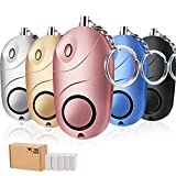 TOODOO 5 Pack Safesound Personal Alarm, 130 db Emergency Safety Key Chain, Self-Defense Security Safe Sound Alarm with Mini LED Flashlight for Kids, Women, Night Workers (Multicolor)