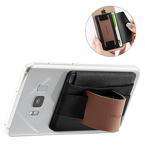 (Sinjimoru Phone Grip Card Holder with Phone Stand, Stick on Wallet Functioning as Safety Card Holder for ID/IC Card Useful Leather Phone Stand and Phone Holder. Sinji Pouch B-Grip, Brown.)