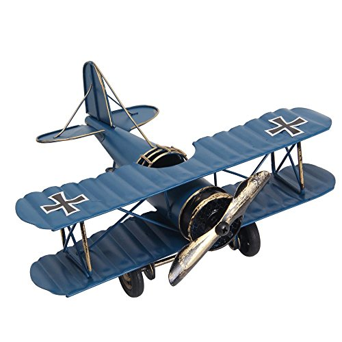 niceeshop(TM) Retro Aircraft Metal Biplane Model Home Study Room Decorations (Blue)