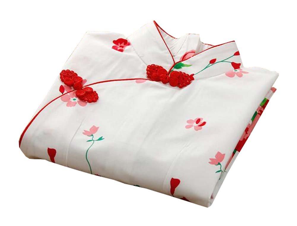 East Majik Chinese Qipao Cheongsam Dress Floral Short Sleeve by East Majik