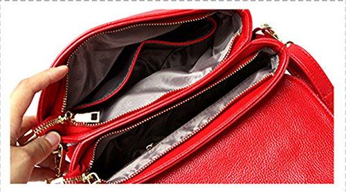 Xinmaoyuan bolsos de señora color liso solo hombro hembra transversal oblicua Bag Bolso De cuero cubierta de sección transversal Cerradura tipo bolsa hebilla ornamento rojo, Rojo