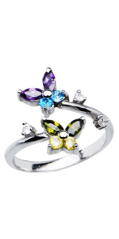 925 Sterling Silver Toe Ring Butterfly CZ. Size Adjustable by Nose Ring Bling