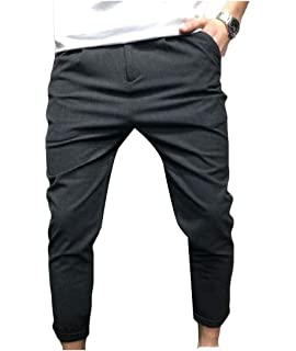 VITryst-Men Trim-Fit Stitching Strappy Pockets Trendly Casual Trousers