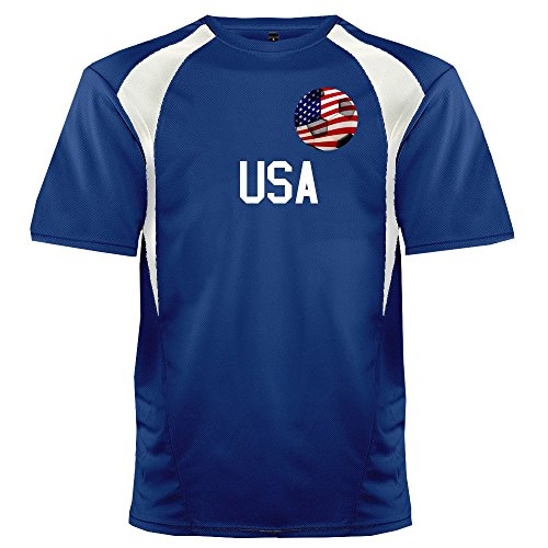Custom USA Soccer Ball 1 Jersey Youth Large In Royal Blue and White - 1 Youth Football Jersey