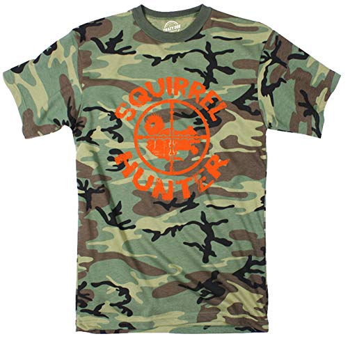 Mens Squirrel Hunter Funny Animal Hunting Season Shooting Camouflage T Shirt (Camo - Orange Ink) - M