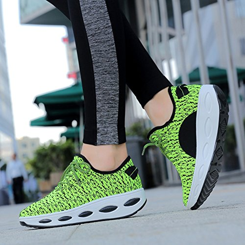 Slip On Sport Platform Women High Green Shoes Heel Lightweight Sneaker Athletic Breathable Weave KUIBU Fly XI1Tqq