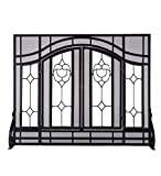 Large Beveled Glass Diamond Fireplace Screen With Alternating Panels And Small Powder-Coated Tubular Steel Frame 44 W x 33 H Black Finish