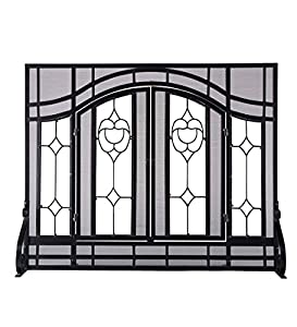 Amazon.com: Plow & Hearth Floral Small Fireplace Screen with Doors ...