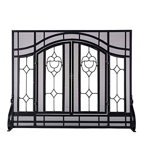 (Small Beveled Glass Diamond Fireplace Screen With Alternating Panels And Small Powder-Coated Tubular Steel Frame 38 W x 31 H Black Finish)