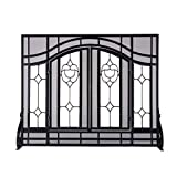 Small Two-Door Floral Fireplace Screen with Beveled Glass Panels, in Black