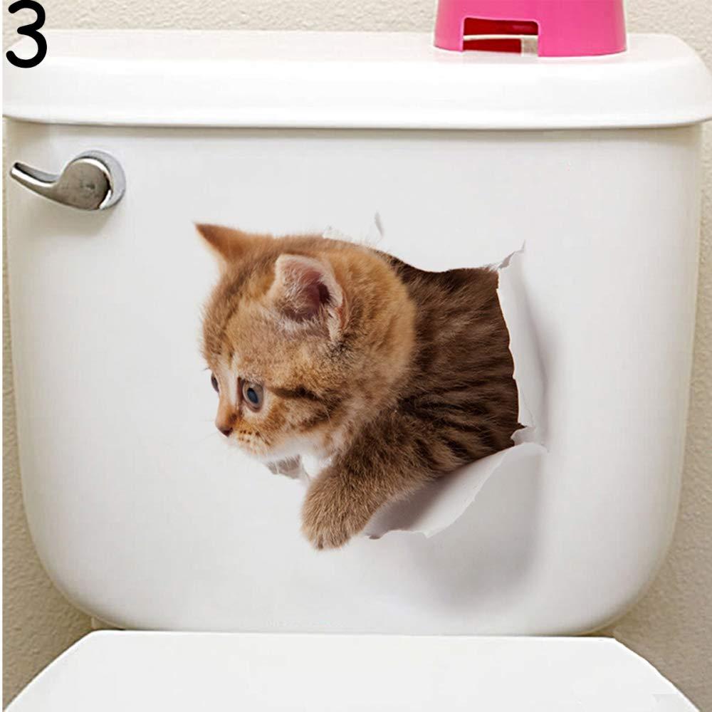CCMOO Animal de Dibujos Animados 3D Pegatinas de Aseo Asiento Gatos Lindos Etiqueta de la Pared del baño frigorífico decoración de la Puerta Pegatinas ...