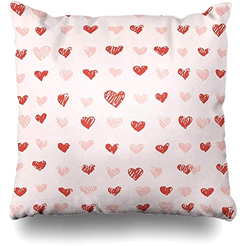 Decorative Throw Pillow Covers Rose Pink Casual St Valentines Day Holidays Delicate Doodle Drawn Endless February Home Decor Square Size 18 x 18 Inch Zippered Cushion Case