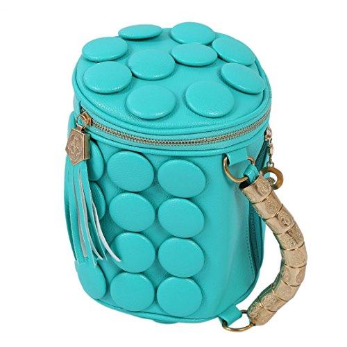 TOOGOO(R) Pulsante cuscino benna borsa tracolla donne borsa di modo della nappa delle donne messaggero dellunita di elaborazione borsa cerniera mini bag-nero blu del lago