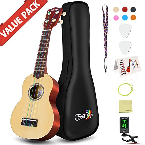 Soprano Rainbow Ukulele Beginner Pack-21 Inch w/Gig Bag Fast Learn Songbook Digital Tuner All in One Kit by Everjoys