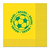 Club Pack of 192 Green and Yellow 2-Ply ''Brasil'' Soccer Ball Paper Party Lunch Napkins 6.5''