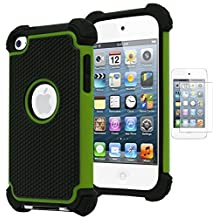 Bastex Hybrid Armor Case for Apple iPod Touch 4, 4th Generation - Neon Green+BlackINCLUDES SCREEN PROTECTOR
