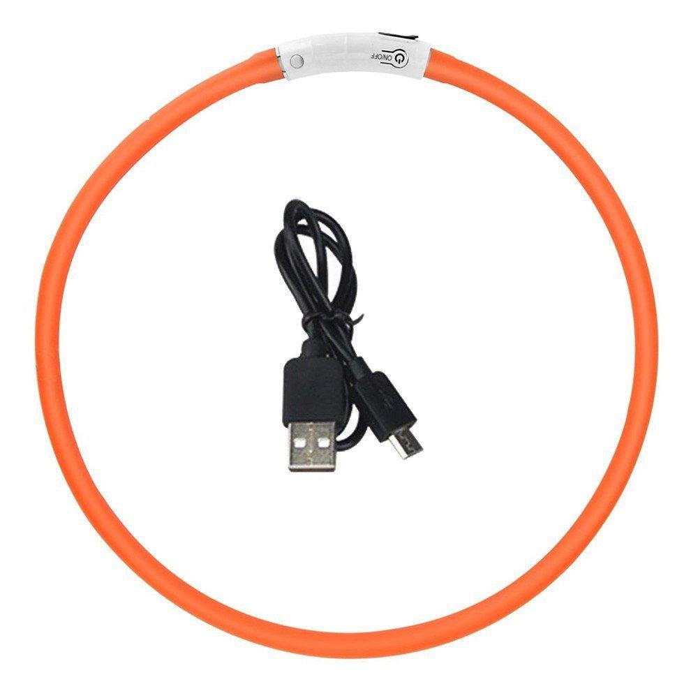 Yaojiaju USB Rechargeable LED Luminous Dog Collar Waterproof Adjustable Flashing Glowing Pet Safety Collar Orange