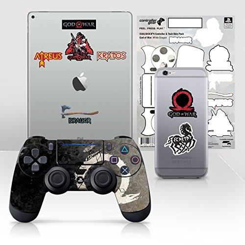 Controller Gear Con licencia oficial God of War Dualshock 4 Wireless Controller y Tech Skin Set White Dragon - PlayStation 4