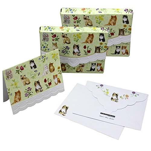 Mini Embossed Portfolio (Kittens Cats Embossed Set of 8 Blank Note Cards, Envelopes, and Mini Portfolio Pouch, Designed by Carol Wilson (Two (2) Sets))
