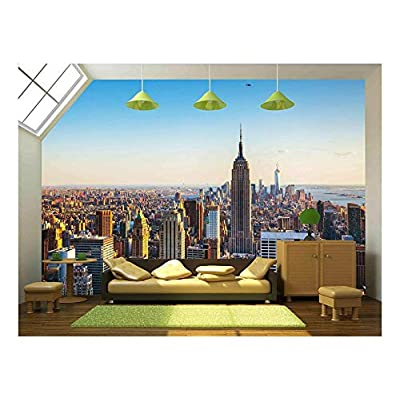New York City Cityscape on a Sunny Day - Removable Wall Mural | Self-Adhesive Large Wallpaper - 100x144 inches