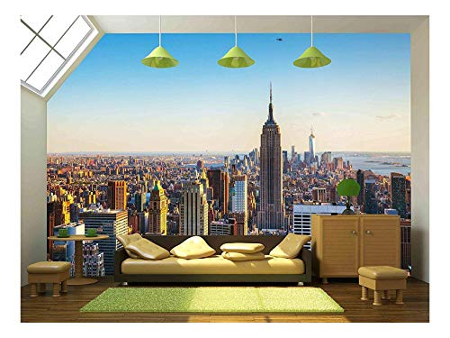 wall26 - New York City Cityscape on a Sunny Day - Removable Wall Mural | Self-adhesive Large Wallpaper - 100x144 inches