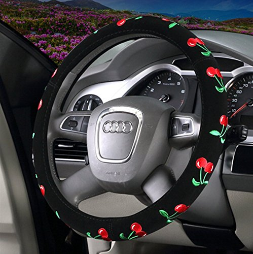Cherries Steering Wheel Cover - SYNN 2018 New Automotive Women Embroidery Cute Car Steering Wheel Cover (Cherry)