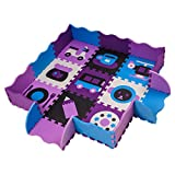 Creative Foam Tiles Puzzle Play Mat Safe For Kids Interlocking Mat With Fence, For Boys