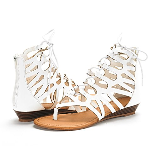 Pu DREAM Strap Ankle Women's Toe Open White Sandals Flat PAIRS Gladiator vRBvqra