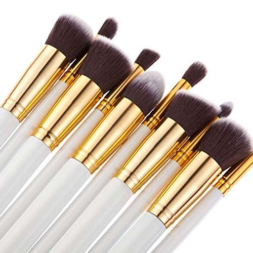 BS-MALL(TM) Premium Synthetic Kabuki Makeup Brush Set Cosmetics Foundation Blending Blush Eyeliner Face Powder Brush Makeup Brush Kit (Golden White)