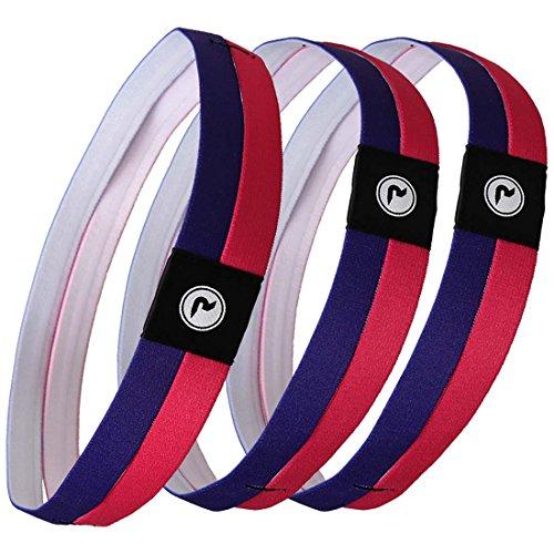 Dual Band Bundle - RoryTory 3 Pack 2 Tone Womens Dual Band Anti Slip Exercise Workout Headbands