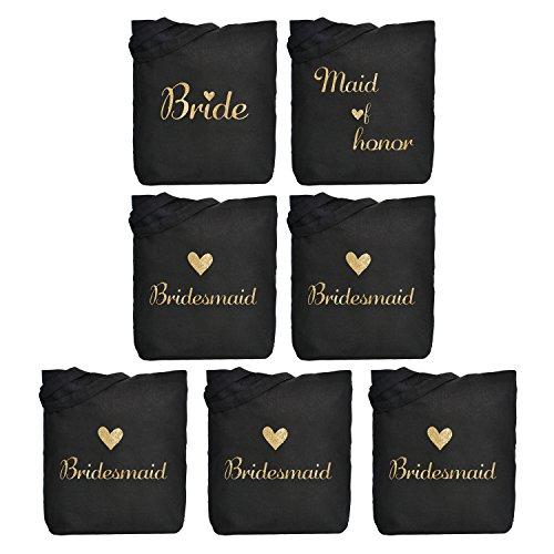 ElegantPark 1 Pcs Bride Tote Bag +1 Pcs Maid of Honor Bag + 5 Pcs Bridesmaid Tote Bags Set for Women's Wedding Favors Bride Bachelorette Gift Black with Gold Script 100% Cotton]()