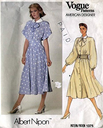 Vogue 1375 Vintage 1980's Sewing Pattern  Albert Nipon  Misses Dress - Size 12 Check Offers for Size 60s Sewing Patterns