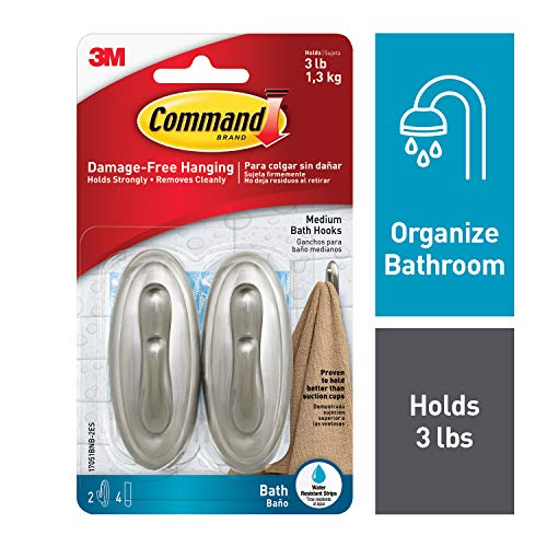 Command Traditional Plastic Bath Hooks Value Pack, Medium, Brushed Nickel, 2-Hooks (17051BNB-2ES)