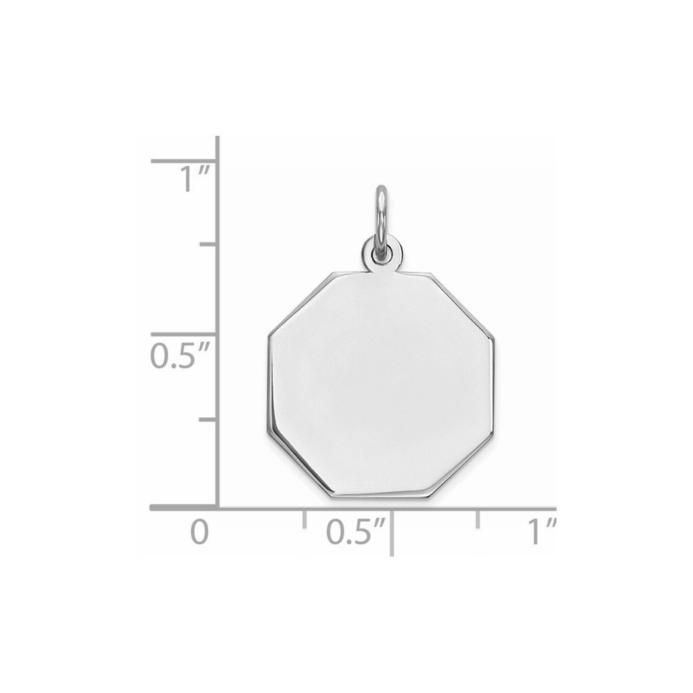 16mm x 23mm Solid 925 Sterling Silver Engraveable Octagon Polished Front//Satin Back Disc Pendant Charm
