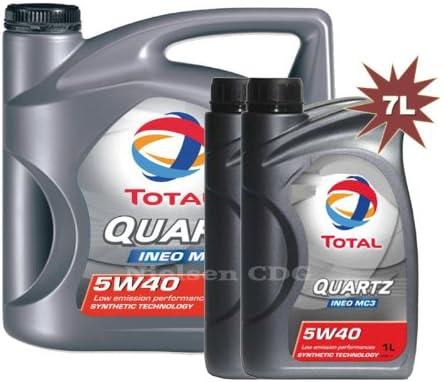 Aceite de motor 5W-40 de 7 litros, de la marca Total Quartz Ineo MC3