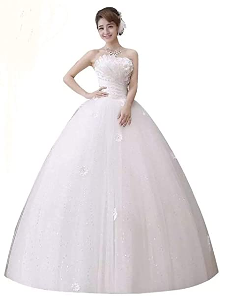 0d3120cd62 Gownlink Beautiful Full Stitched Tube Style Christian Wedding Ball Gown  Wedding Dress in White Color for