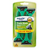 Equate Triple Blade Disposable Razors for Men, 8 Ct
