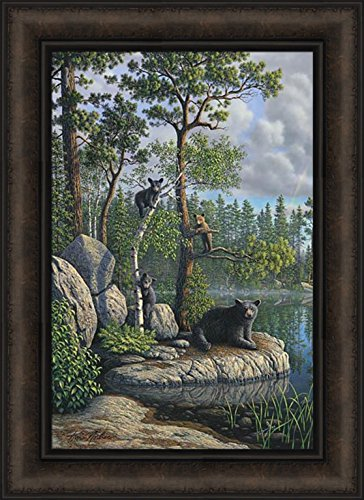 - The Guardian by Kim Norlien 16x22 Black Bears Mama Bear Cubs Trees Rocks Lake Framed Art Wall Décor Print Picture