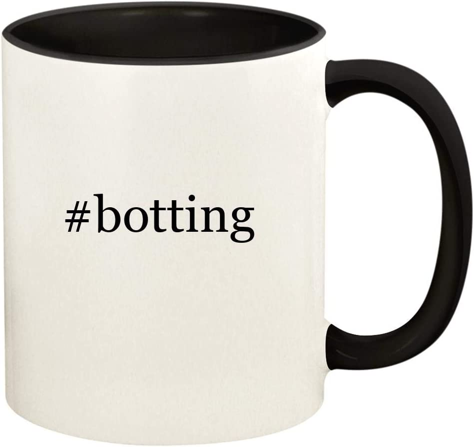 #botting - 11oz Hashtag Ceramic Colored Handle and Inside Coffee Mug Cup, Black