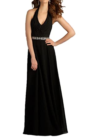 Gorgeous Bride Sexy Halter Black Long Chiffon Evening Party Gown Prom Dress- UK Size 18
