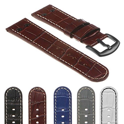 - DASSARI Quick Release Croc Embossed Mens Leather Pilot Watch Band Strap w/Matte Black Buckle & Rivets 18mm 20mm 22mm 24mm