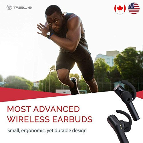 51V3TvltDDL - Treblab X5 - Advanced Bluetooth Headphones w/Beryllium Speakers, Truly Incredible 3D Sound, Best Sports & Running True Wireless Earbuds, Noise Cancelling Microphone, Siri, Extended Battery 2018 Model