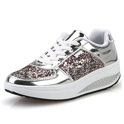 argent Chaussures Marche 3 Sneakers Qzbaoshu amp; forme Wedges Aptitude Baskets Plate Minceur Femmes AHqqw76