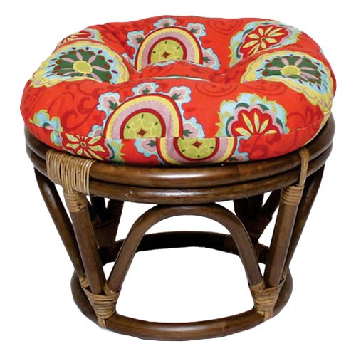 (18-Inch Bali Rattan Papasan Footstool with Cushion - Print Outdoor Fabric, Farmington Terrace Grenadine - DCG Stores Exclusive)